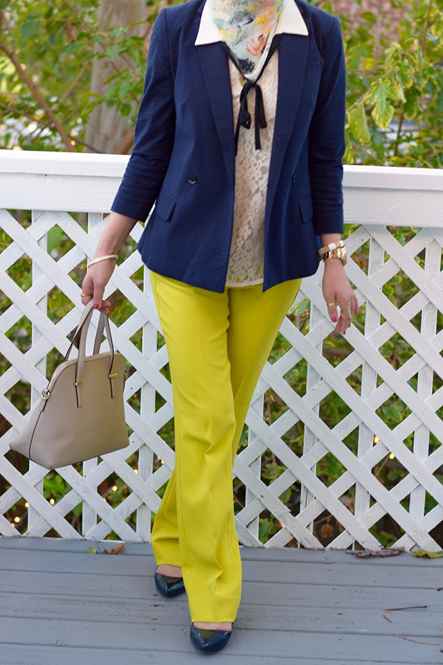 Banana Republic Logan Chartreuse Trousers - Navy blazer - fall style - Haute Hijab - Lace blouse - Kate Spade Cedar Street Maise