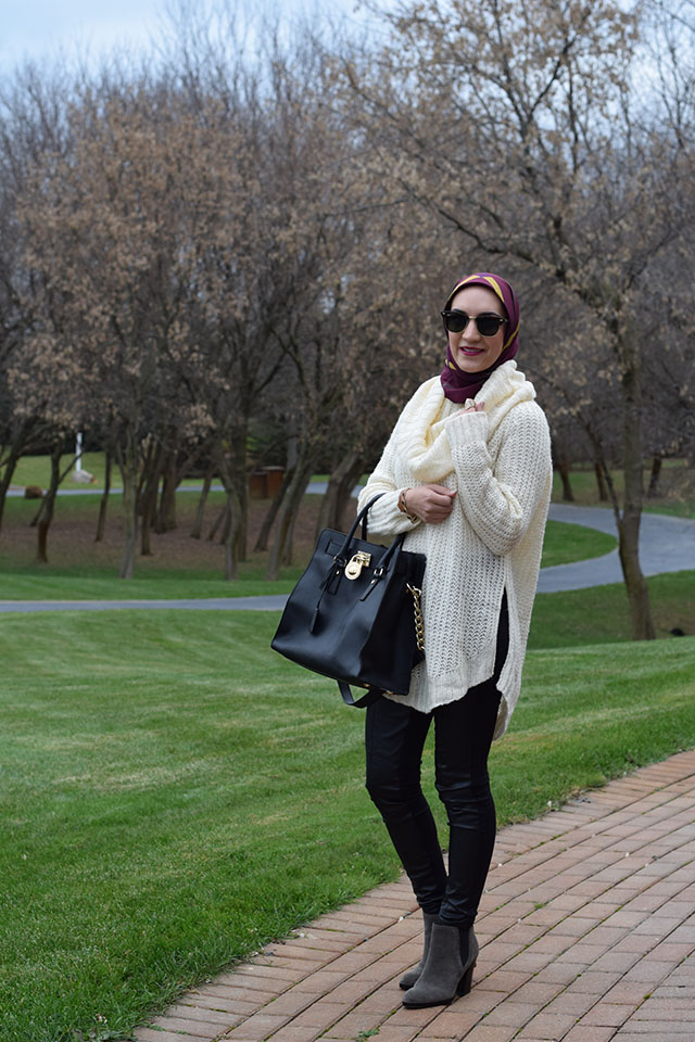Cowl Neck Sweater-Anthropologie Vegan Leather Leggings-Ray Ban Clubmaster Sunglasses-Marc Fisher Ankle Boots-MAC Rebel Lipstick-Michael Kors Hamilton Bag-Hijab Fashion Blogger