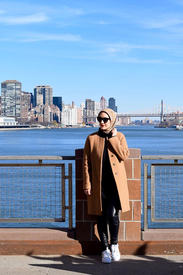 Winter Fashion - Weekend Style - Adidas Superstar - Camel Coat - Vegan Leather Leggings - Fashion Blogger - NYC - Modest Fashion - Hijabi