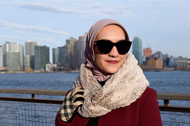 J. Crew-Double-cloth lady day coat with Thinsulate-Winter Coat-Burberry Gloves-Asos Cat Eye Sunglasses-Michael Kors Handbag-Haute Hijab Scarf-Modest Fashion-Hijabi Blogger