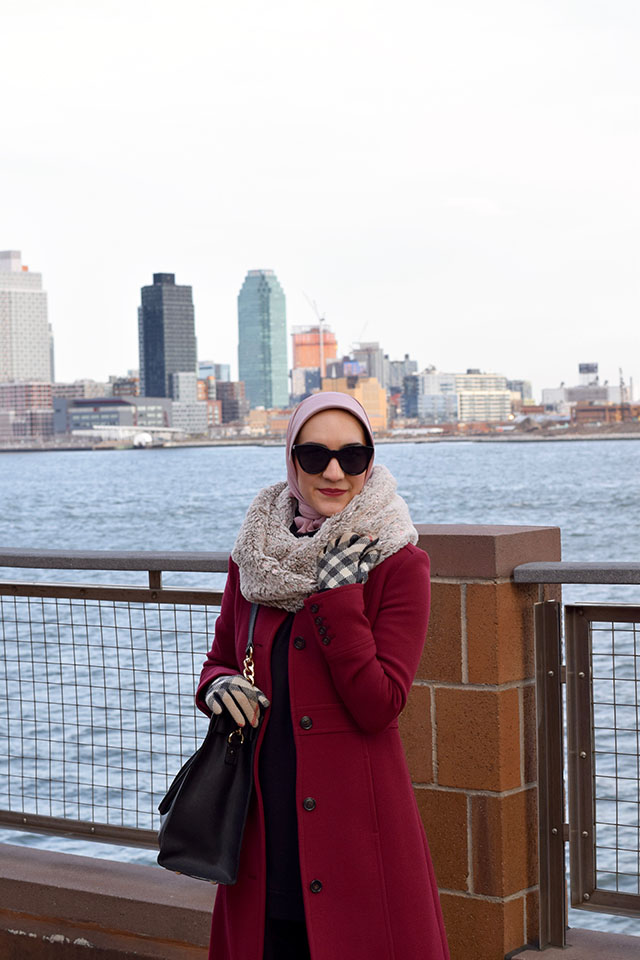 J. Crew-Double-cloth lady day coat with Thinsulate-Winter Coat-Burberry Gloves-Asos Cat Eye Sunglasses-Michael Kors Handbag-Haute Hijab Scarf-Modest Fashion-Hijabi Blogger