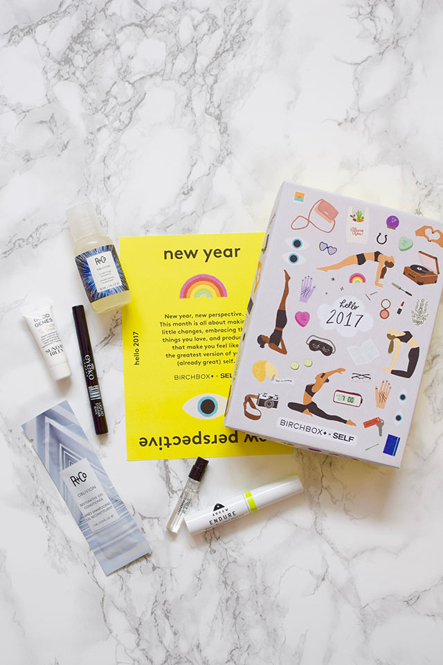 January 2017 Birchbox-R+Co shampoo & conditioner-ARROW water resistant mascara-Eyeko liquid eyeliner-Sunday Riley Good Genes lactic acid treatment-Beauty Blog