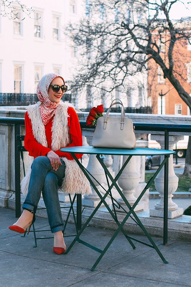 Valentine's Day Outfit, Faux Fur Vest, Red Ruffle Blouse, Kate Spade cedar street maise, hijab fashion blogger, boyfriend jeans, casual valentine's day look, hijabi fashion