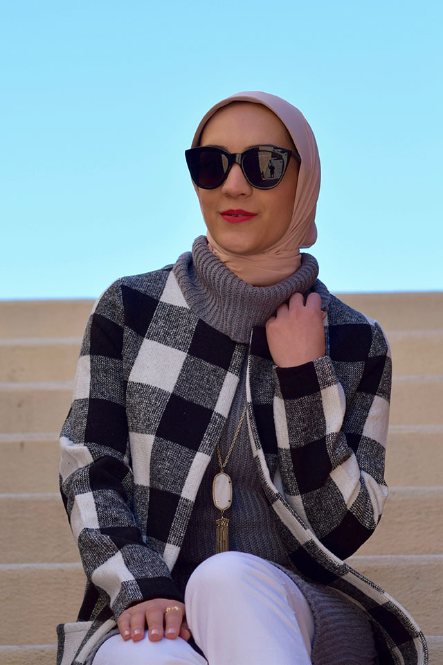 Cowl Neck Sweater Dress-Checkered Coat-White Denim-Spring Layers-Hijabi Fashion Blogger-Kendra Scott Tassel Pendant-TOBI sweater-Bauble Bar Cuff Set