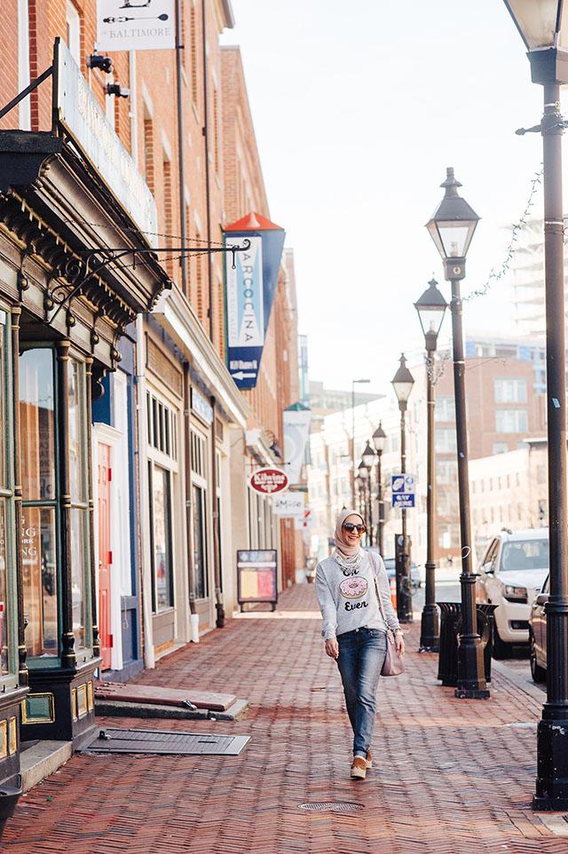 Diablo Doughnuts Baltimore-Francesca's Sweatshirt-Oh Donut Even Shirt-Weekend Casual Look-Hijabi-Modest Fashion-Kate Spade cobble hill milieu Bag - Marc Fisher Adalyn Wedge