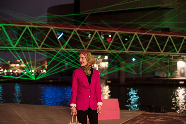 Light City Baltimore - Inner Harbor - OVO by OVO Collective - House of Cards by OGE Group - Drift by Stephanie Imbeau - Light City 2017 - BGE Light Art Walk - Inner Harbor - Harbor East - Electron Drawing – Visual Music by Timothy Nohe - Katie Vee Photography - Lalz - Travel Blog - Baltimore Blogger