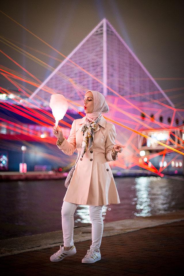 Light City Baltimore 2017 - Inner Harbor - Baltimore - Vasiliki Photography - Pink Trench Coat - Adidas Gold Superstar Sneakers