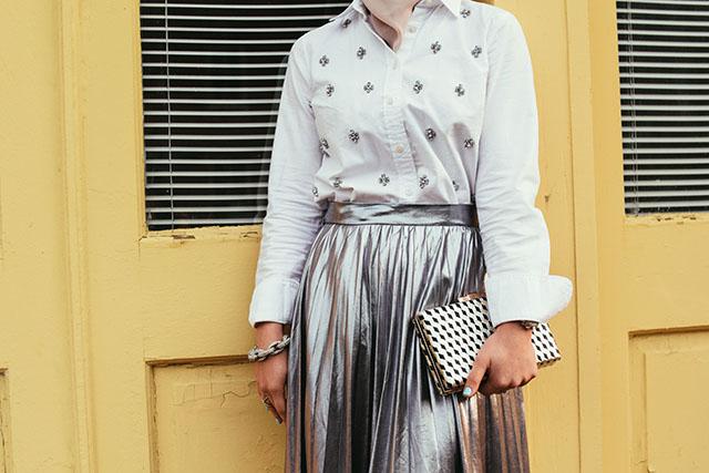 Metallic Contrast Pleated Midi Skirt - Fells Point Baltimore - Embellished Top - Silver Flats - ASOS Cat eye sunglasses - Metallic clutch - fashion blogger - hijabi fashion - modest skirt