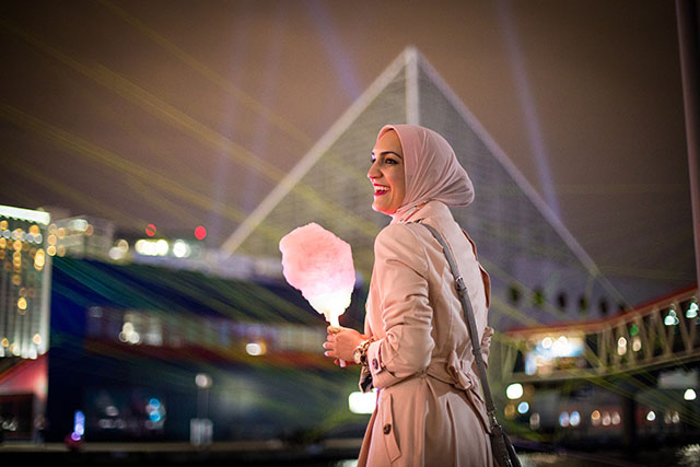 Light City Baltimore 2017 - Inner Harbor - Baltimore - Vasiliki Photography - Pink Trench Coat - Adidas Gold Superstar Sneakers