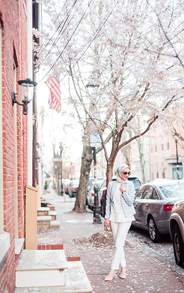 Scalloped Blazer - Spring Pastels - White Denim - Fells Point Baltimore - Hijabi Blogger - Banana Republic Pleated Top - Blush pink heels - JORD Watches
