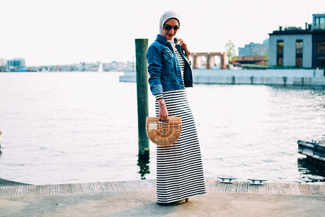 Striped Dress-Long-sleeve striped dress-cult gaia ark bag-nautical outfit-hijabi-fells point baltimore