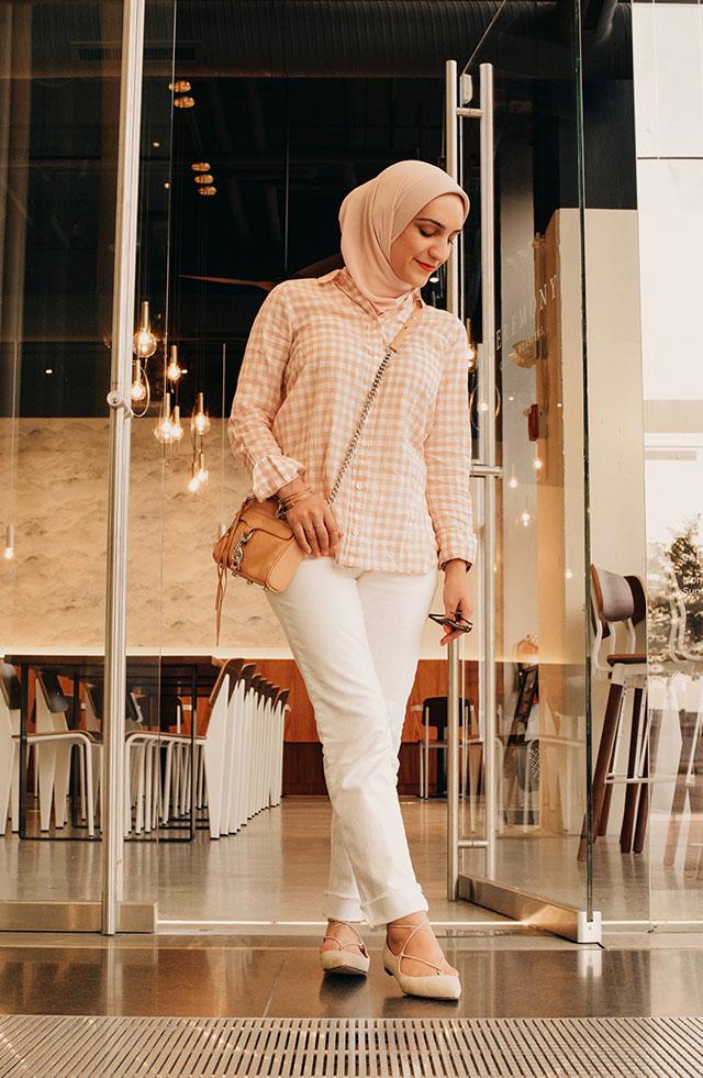 Gingham-J.Crew-White Denim-Rebecca Minkoff MAC Mini Handbag-Haute Hijab-M.Gemi brezza-Lalz-Hijabi Blogger