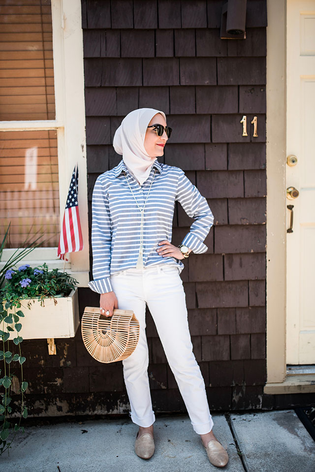 White Denim-Stripe Top-Gold Slides-Cult Gaia Ark Bag-Kendra Scoot Necklace-Haute Hijab-Lalz-Summer Style