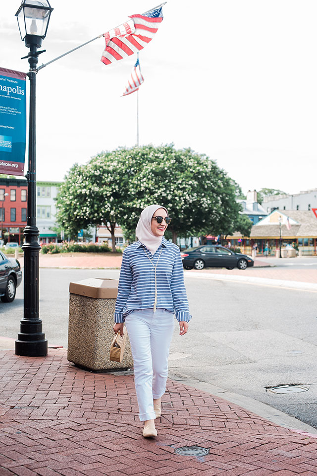 White Denim-Stripe Top-Gold Slides-Cult Gaia Ark Bag-Kendra Scoot Necklace-Haute Hijab-Lalz-Summer Style
