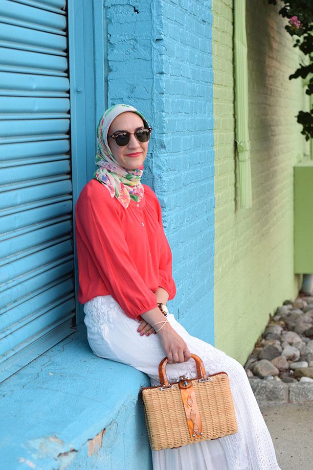 Summer Style-Free People-Audrey Picnic Basket-Baltimore-White Maxi Skirt-Modest Fashion-Hijabi Blogger