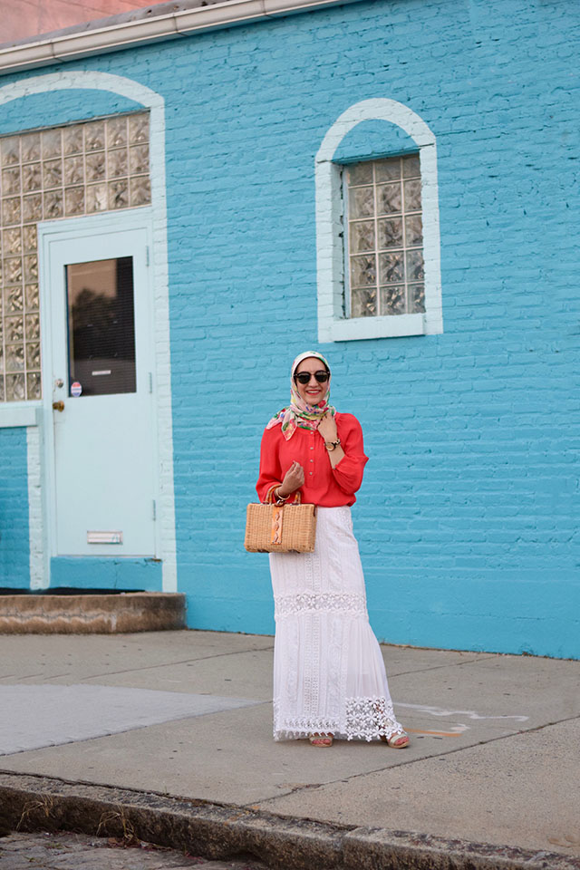 Summer Style-Free People-Audrey Picnic Basket-Baltimore-White Maxi Skirt-Modest Fashion-Hijabi Blogger