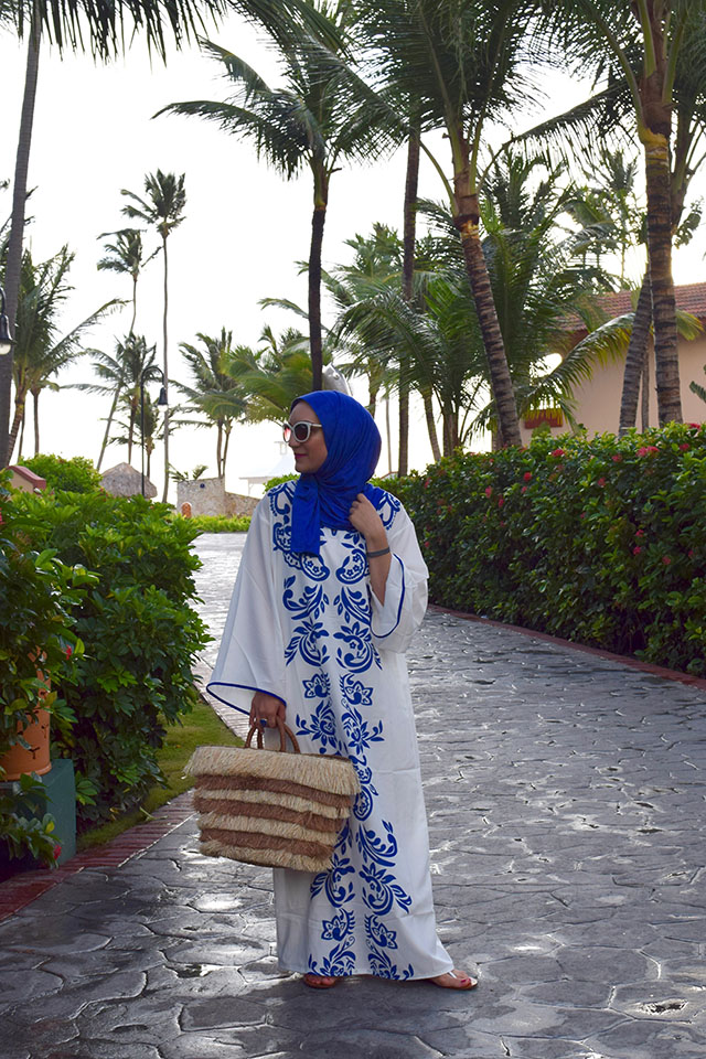 Kaftan Dress-Hijab-Beach Look-Kayu Tote-Dominican Republic-Punta Cana