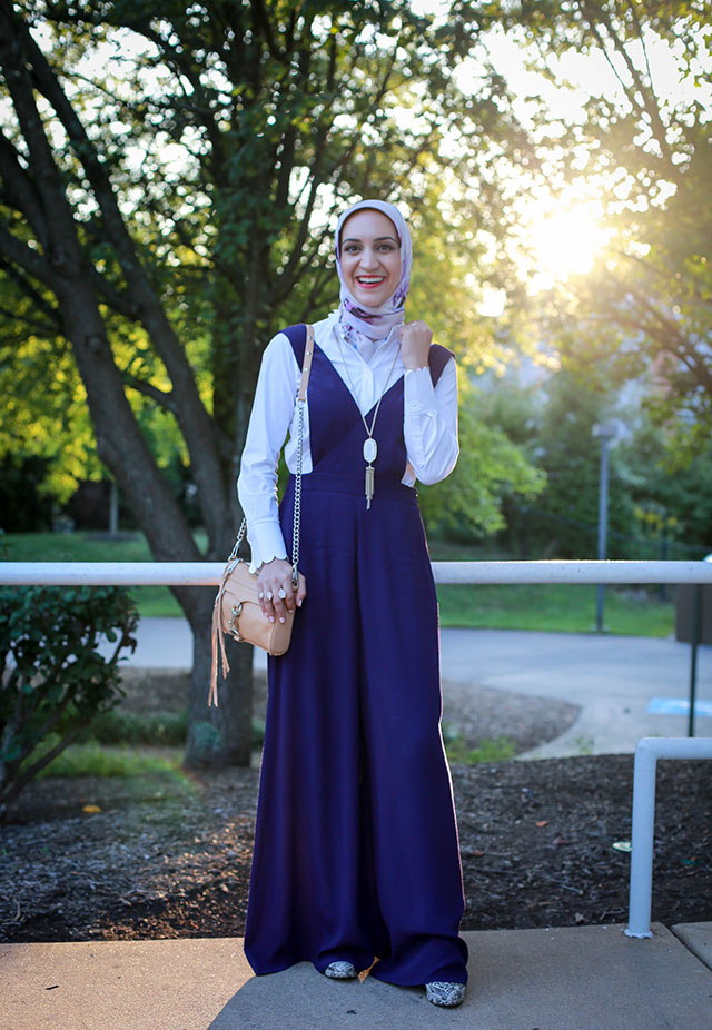 Anthropologie-Apron Wide-Leg Jumpsuit-Haute Hijab-Rebecca Minkoff Mini Mac-Hijabi Blogger-Kendra Scott Rayne Stone Tassel Pendant Necklace-Modest Fashion