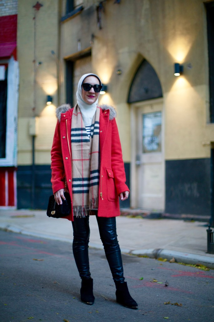 J.Crew Parka-Leather Leggings-Burberry Scarf-Hijab