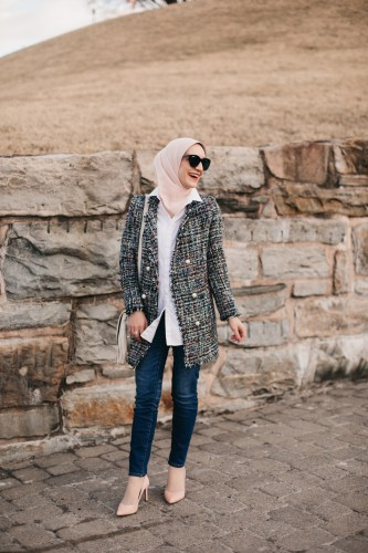 Tweed-Blazer, J.Crew Toothpick Denim, A Day In The Lalz, Hijabi Blogger