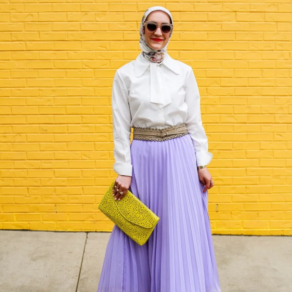 Lilac Pleated Maxi Skirt