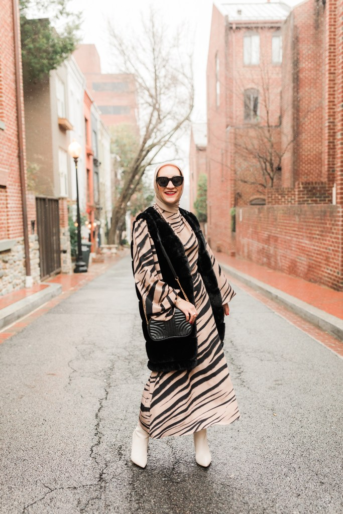 Winter Style-Modest Fashion-Zebra Print Dress-Faux Fur Vest-White Boots-Lalz-Georgetown-DC Fashion