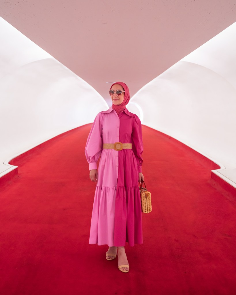TWA Hotel -JFK Airport-Stine Goya Dress-Hijab Fashion-Travel NYC