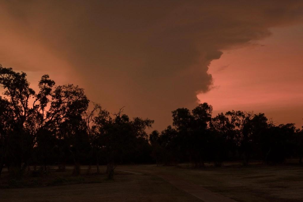 sunset sky in the dark