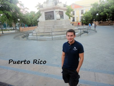 In a plaza in Old San Juan, Puero Rico during the summer