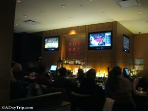 The bar area at The Met at Legacy Place in Dedham