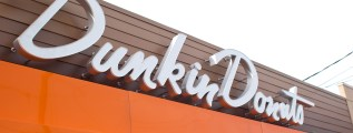 The sign for the original Dunkin' Donuts in Quincy, Massachusetts.