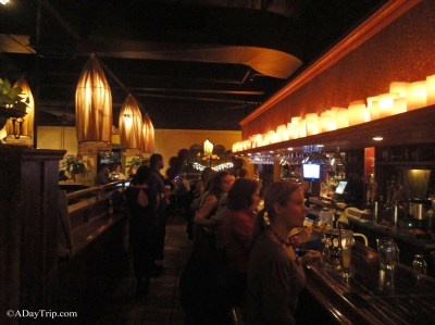 The interior decor features a bar area decorated in the same way