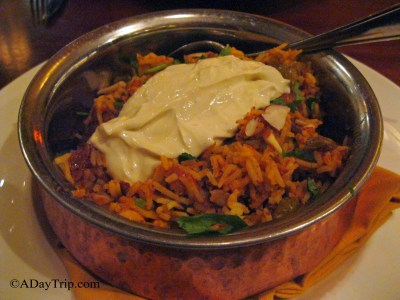 I recommend getting the Lamb Biryani, it is simmered lamb in rice with nuts and vegs