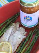 Lemon zest infused honey mixed with bourbon is an excellent condiment on grilled red snapper.