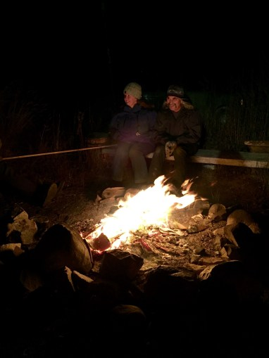 Campfire out at the dog yard; hoping for a glimpse of the Northern Lights in Churchill, MB.