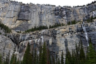 The Weeping Wall on the side of Cirrus Mountain along Icefields Parkway.