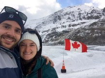 Selfie on top of the Athabasca Glacier in the Columbia Icefield.