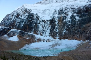 Icebergs in Cavell Pond from the Angel and Ghost Glaciers on Mount Edith Cavell in Jasper National Park.
