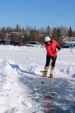 """Long John Jamboree Northern Putting Challenge: """"Mini Putt"""" - where the putter is a hockey stick and the green is the ice of Great Slave Lake!"""