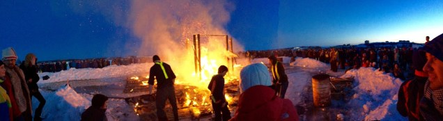 The Long John Jamboree huuuuge bonfire - as the fire burns out, the bonfire crew come in to ensure the fire is contained