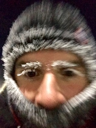 This is Adam's frozen face after our 12 minute walk from our apartment to work at 8am - it was a dark and chilly January morning!
