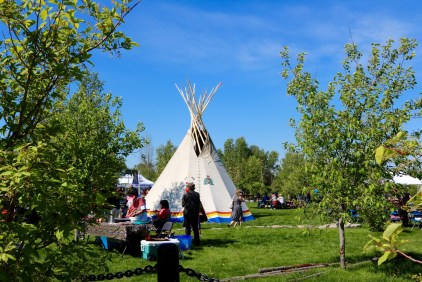 Cultural displays in Somba Ke Plaza for Aboriginal Day