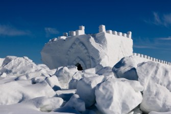 The crumbled remains of the Snowking Castle in the spring