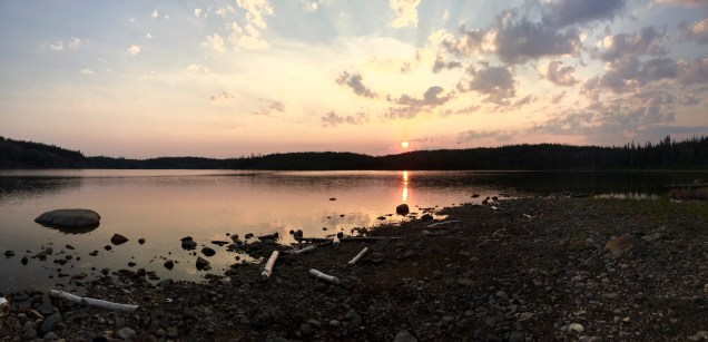 "Sunset at our ""Beaver Lake"" rock beach campsite"