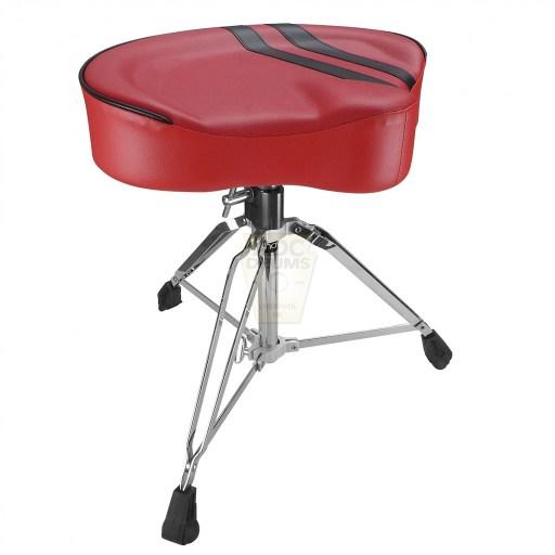 Shaw-Motorcycle-Saddle-red-vinyl-black-stripe-Drum-Throne