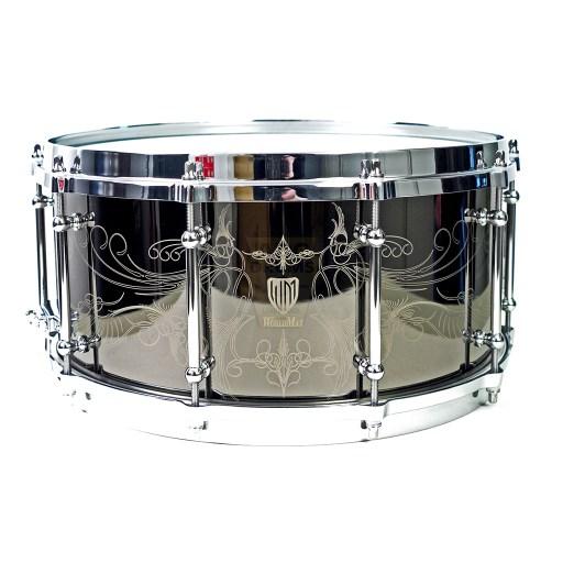 WorldMax-Black-Brass-engraved-14x65-Snare-Drum