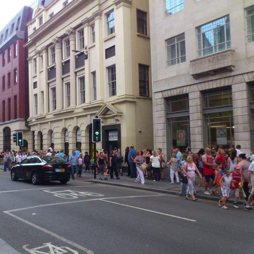 Crowds of people in Dale St, Liverpool