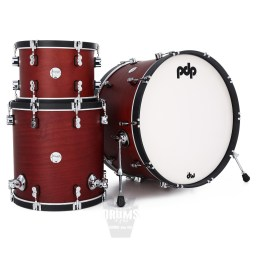 pdp concept classic maple rock 24 drum kit in ox-blood finish