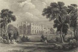 Old print of Crawford Priory. Note the crows circling overhead, ancestors of present-day inhabitants.