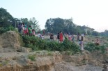 Villagers on the banks of the Ayeyarwady River
